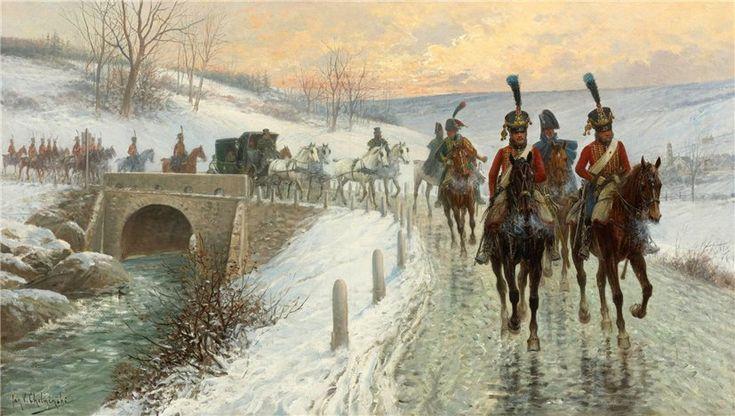 Jan Van Chelminski (Polish, 1851-1925) - Napoleon's entry into Berlin