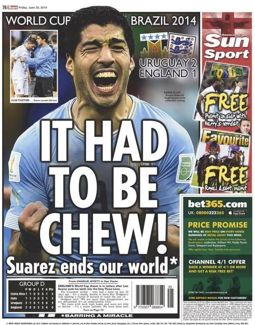 Headlines with bite! English papers predictably had a field day after Uruguay match.