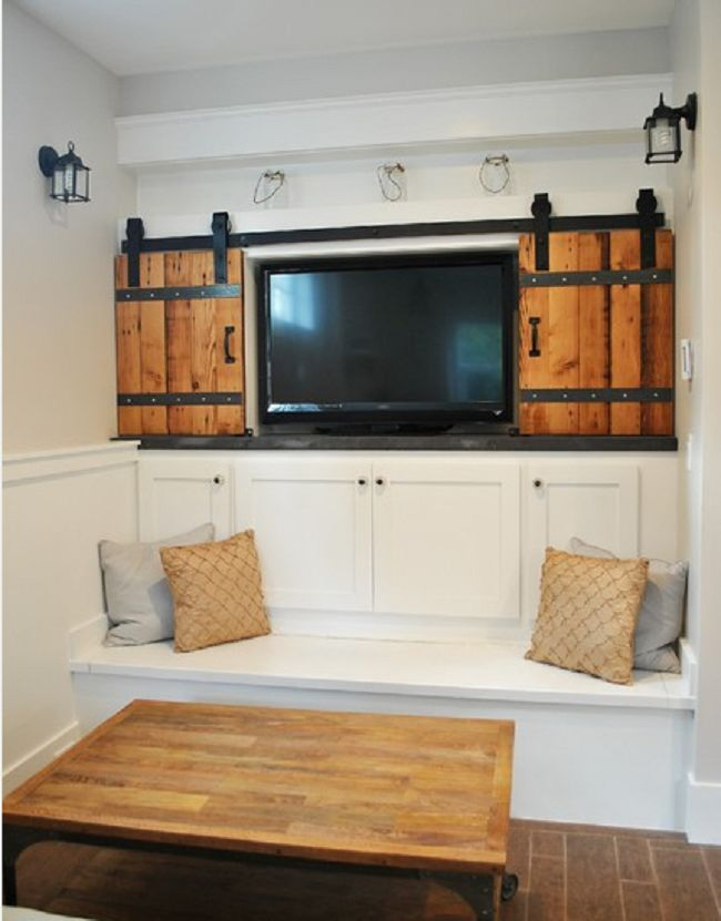 creative way to hide the tv with little sliding barn doors barndoor hardware - Barn Doors For Homes