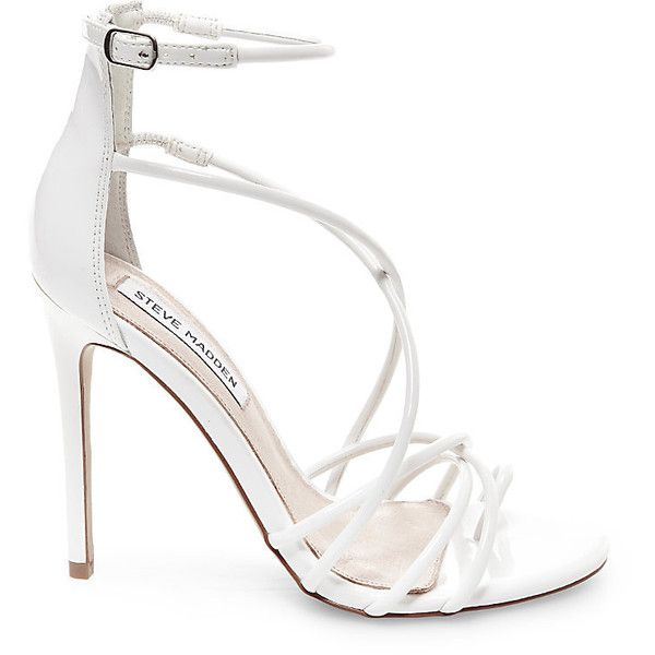 Steve Madden Women's Satya Stilettos Heels featuring polyvore, women's fashion, shoes, pumps, white patent, white shoes, white high heel pumps, strap pumps, patent pumps and white stiletto pumps