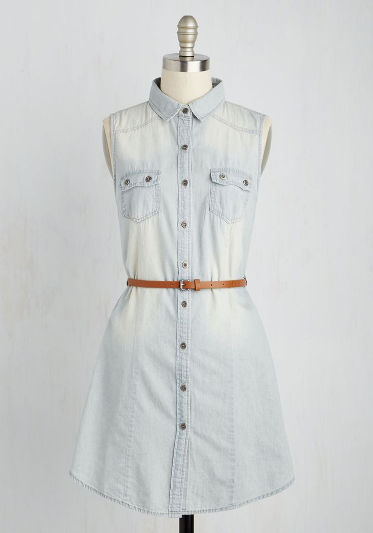 Picnic Shelter Me Dress. Set out a finger food feast looking like a barbecue belle in this pale chambray shirt dress! #blue #modcloth