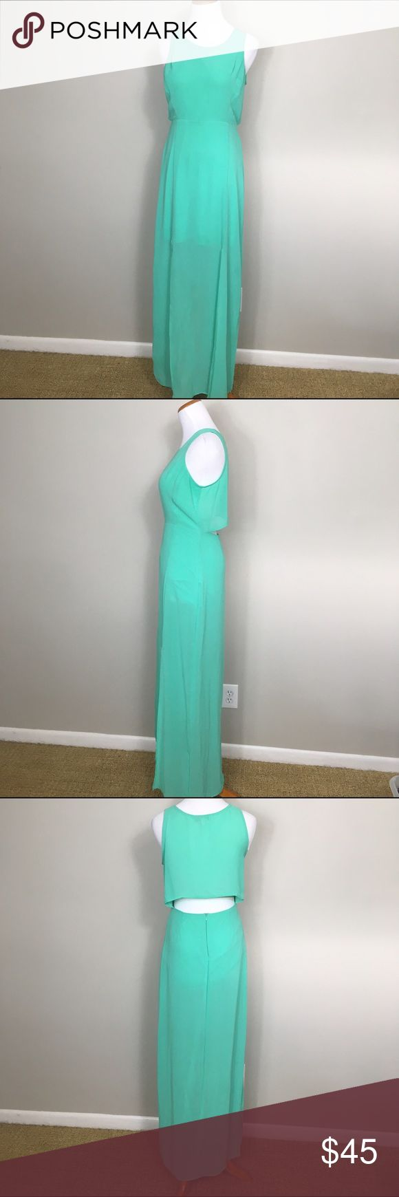Gianni Bini mint turquoise maxi dress; sheer back Gianni Bini mint turquoise maxi dress; sheer cut out back, m-slits in front; flown and gorgeous! Gianni Bini Dresses Maxi