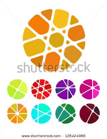 Design round logo element. Crushing abstract circle pattern. Colorful precious stone icons set. by skyboysv, via ShutterStock