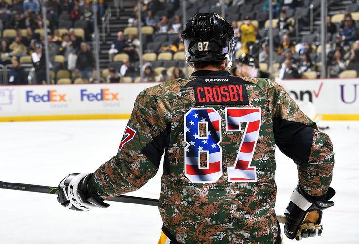 November 10, 2016 vs. Minnesota. The #Pens took warmups with special camo jerseys as part of 'Military Appreciation Night'. Final Score, 4-2 Wild.