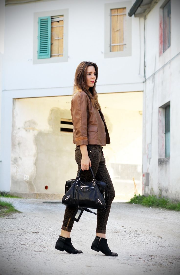 trend fall winter 2012 2013 animalier:  outfit with balenciaga, primark pants, black biker boots www.ireneccloset.com