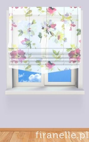 roman blind with printed flowers