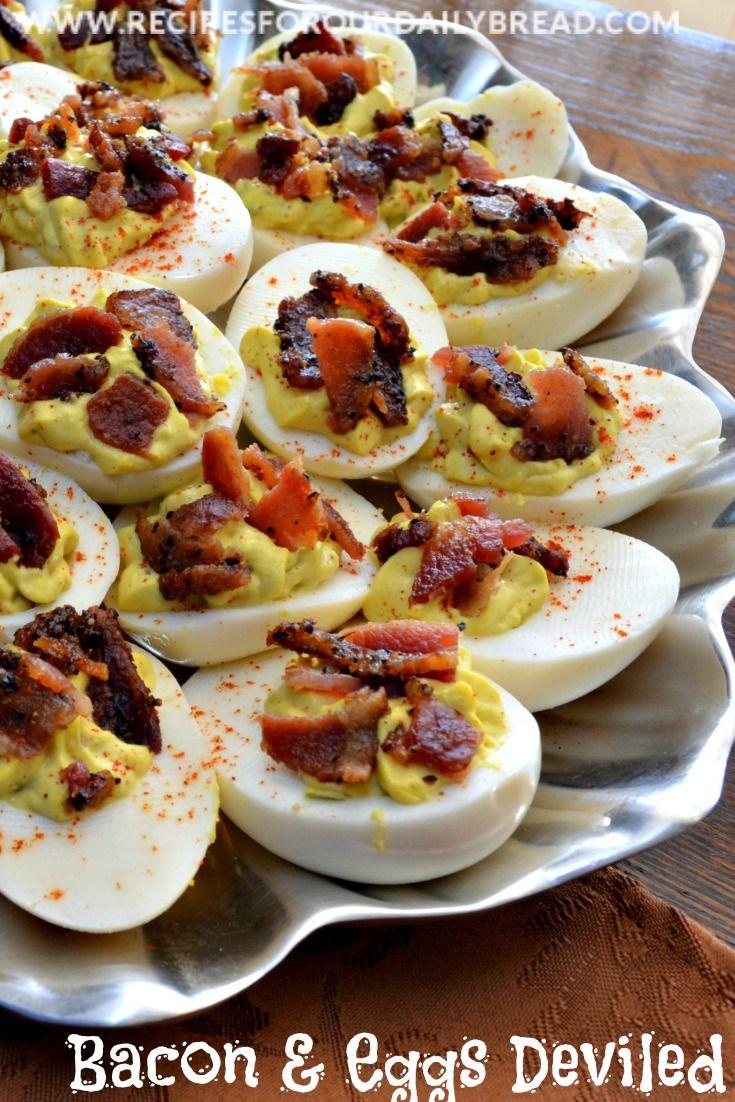 Bacon Deviled Eggs-kick up regular deviled eggs with bacon http://recipesforourdailybread.com/2012/11/27/bacon-and-eggs-deviled-eggs/ #eggs #bacon #sidedish