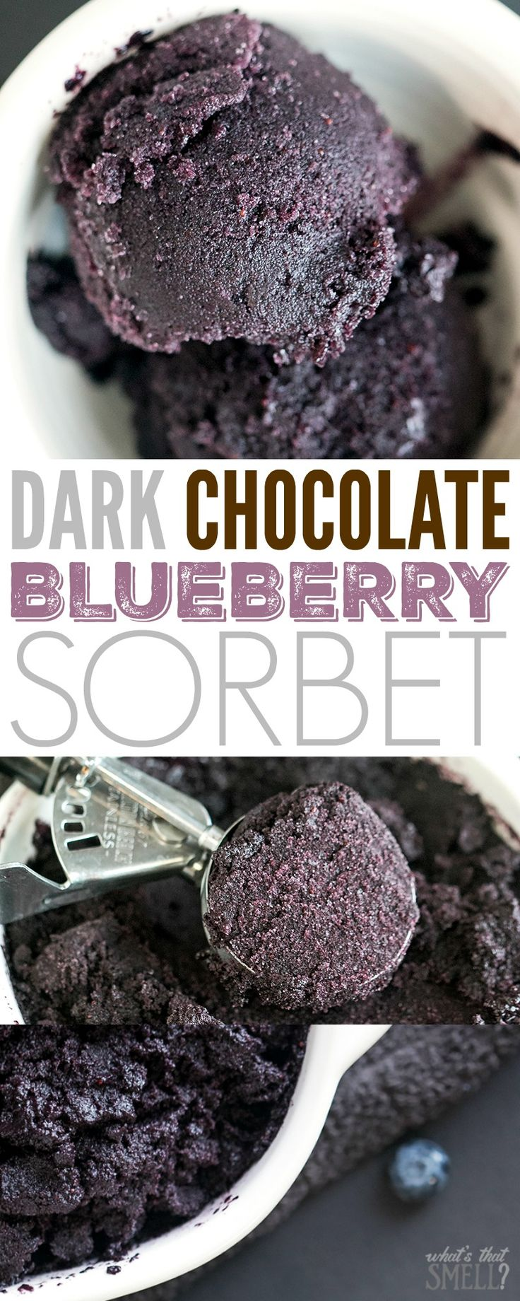 Dark Chocolate Blueberry Sorbet - this dairy free, gluten-free, Vegan sorbet is refreshing, delicious and a healthier frozen treat option. You can make ice pops with it or serve it in bowls like ice cream. Easy and yummy! AD #LoveMySilk #Nutchello #SilkCrowd