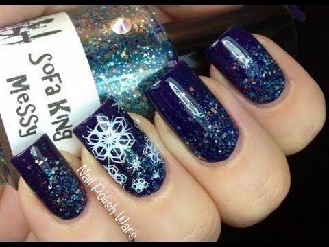 Easy Snow Nail Art - Snowflake Nails Stamp Konad Winter Snow Nail design Let It Snow White Winter