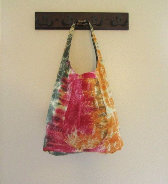Hippie Bag Waxed Fabric Tote Bag African Design Tie Dye Batik Pattern with Pockets Slouch Style Over the Shoulder Bag Boho Hippy Bag on Etsy, $22.00