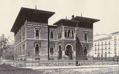 Palacio Xifre, estaba enfrente del museo del Prado. Grabado