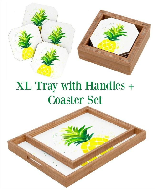 Anniversary, Birthday or Anytime Gifts! Pineapple Tray Coaster Set Package - Perfect for Entertaining Al Fresco with your favorite cocktails.