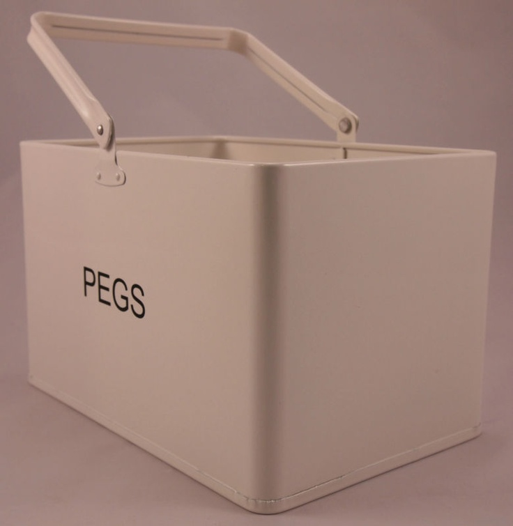 Steady Sticks Retro Kitchen enamel white peg bucket, laundry