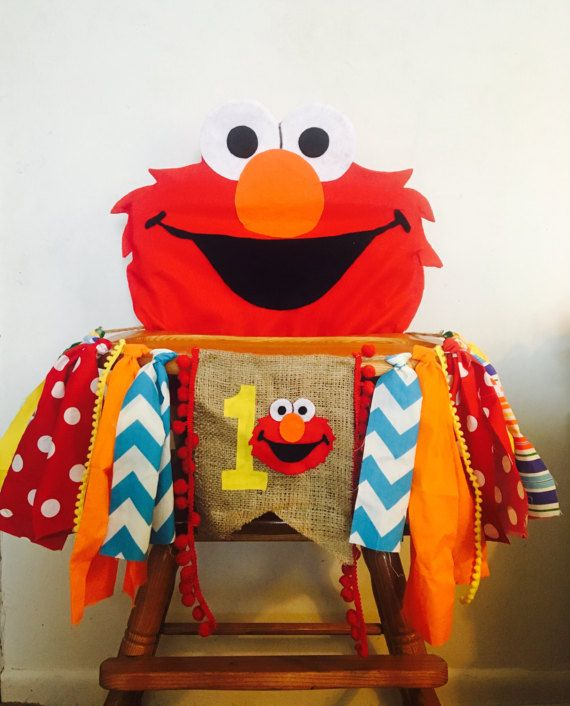 Elmo High Chair Banner & Cover boy High by FreckledStrawberrie