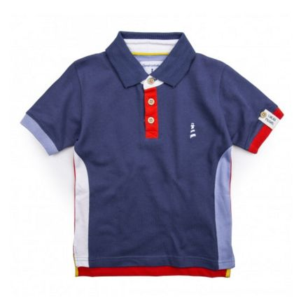 GODREVVY POLO SHIRTA - Lucas Frank classic, this timeless Godrevvy boys polo shirt has been expertly crafted with contrasting rib cuffs, side vents and features the signature Lucas Frank embroidered lighthouse logo and number detailing to the back. #LucasFrankKids