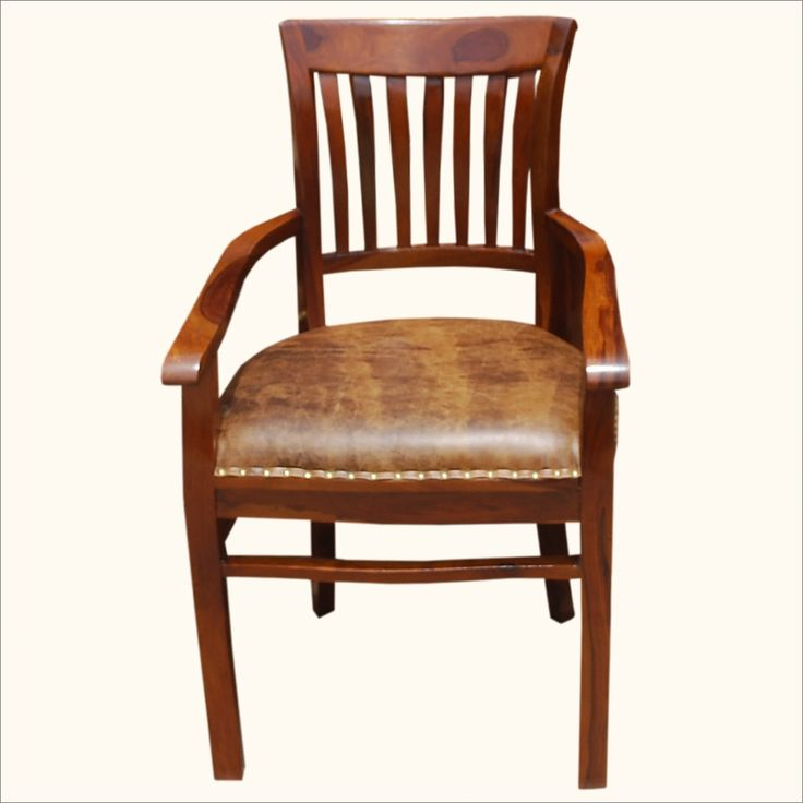 Solid Wood Arm Chair Leather Cushion Dining Furniture