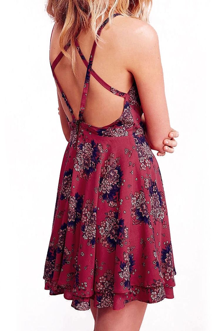 Red Spaghetti Strap Florals Chiffon Dress - abaday.com