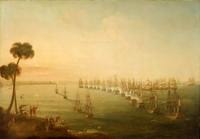 Opening of the Battle of the Nile on 1st August 1798 in the Napoleonic Wars: picture by Nicholas Pocock: buy this picture