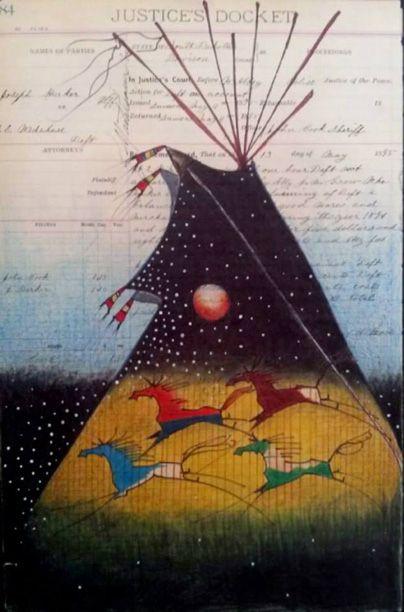 Plains Indian Tipi art  Donand F Montileaux art Lakota artist