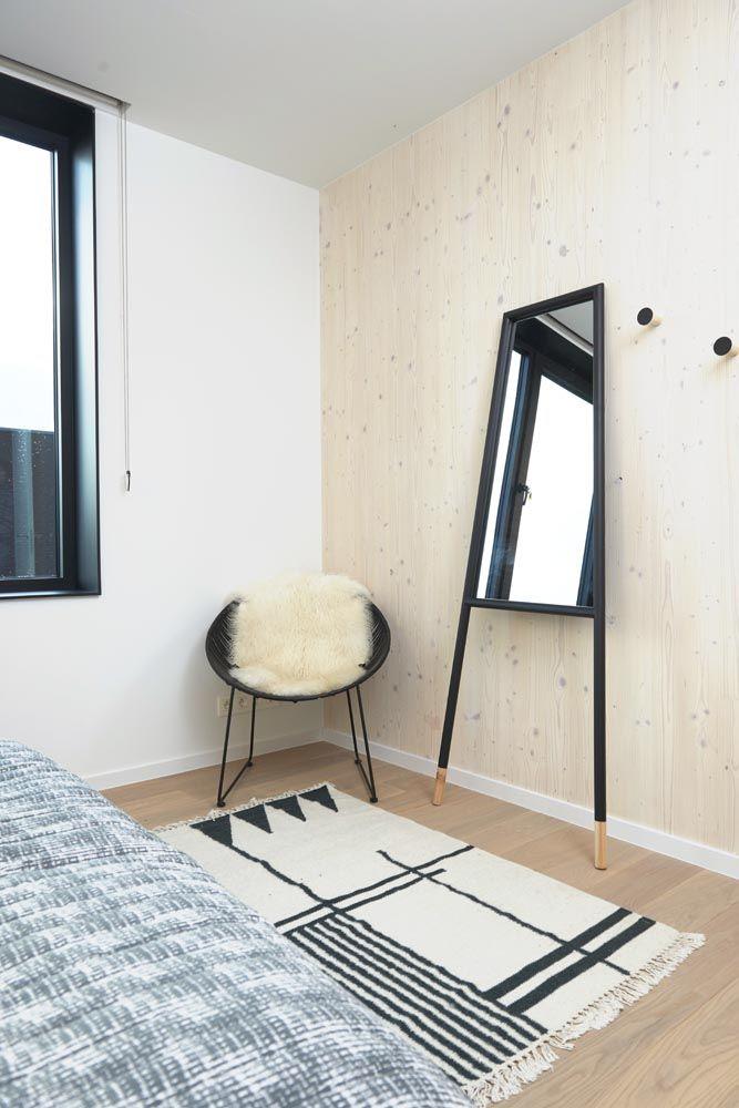 rug Ferm Living, mirror, rattan chair, lamb skin and hooks Bloomingville