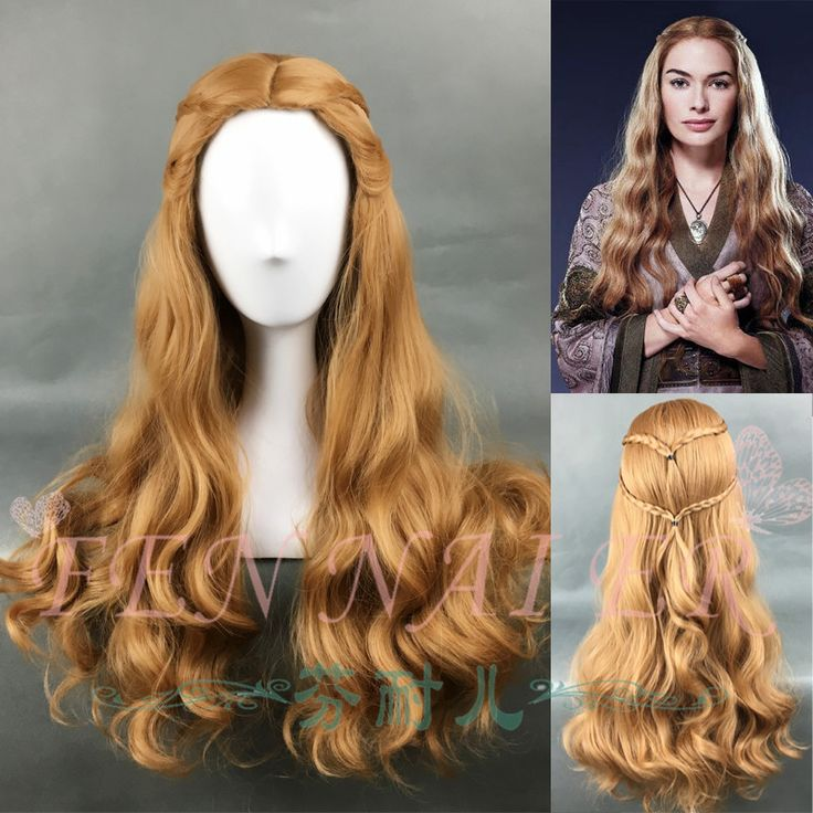 Game of Thrones Cersei Lannister Long Wavy Dark Gold Wig Queen Cersei Brown Wig with hair net