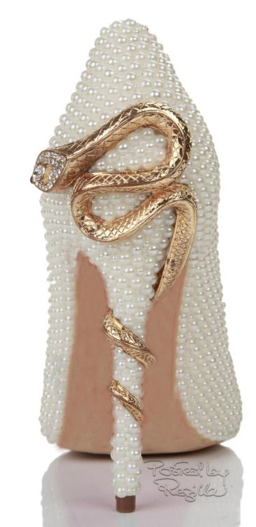 White Pearl Snake Embellished Point Toe Pump ~ 2014