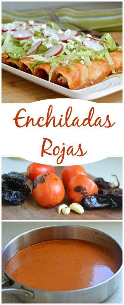 Enchiladas en salsa de chile roja muy cremosa