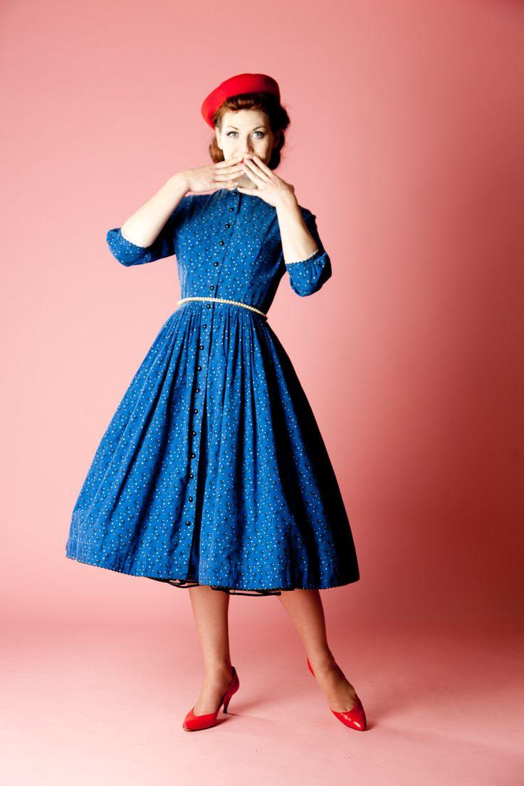 Vintage 1950s Lanz Original Dress Flannel Cotton 1950s