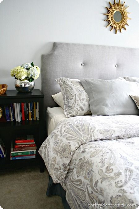 DIY tufted headboard - a beautiful new bedroom redo for Blogger/Sponsor  @Thrifty Decor