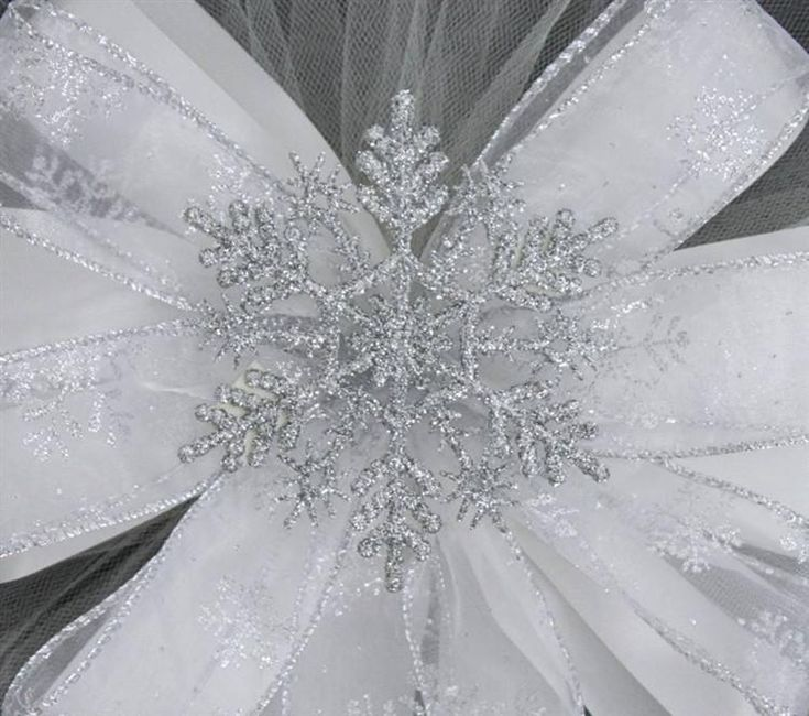 Silver Glitter Snowflake Wedding Pew Bows - Package Perfect Bows - 2