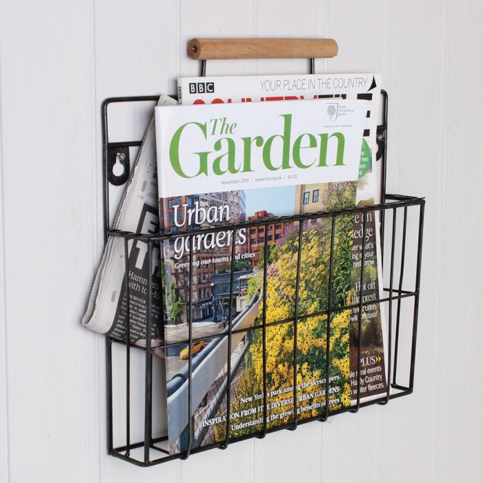 newspaper holder wall mounted balck metal industrial
