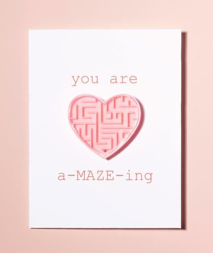 Use a heart maze to make this cute DIY Valentine's Day card.