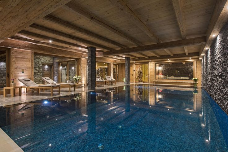 Chalet Mon Izba - Large indoor pool. Available from Firefly Collection #luxuryskichalet #indoorpool #verbier