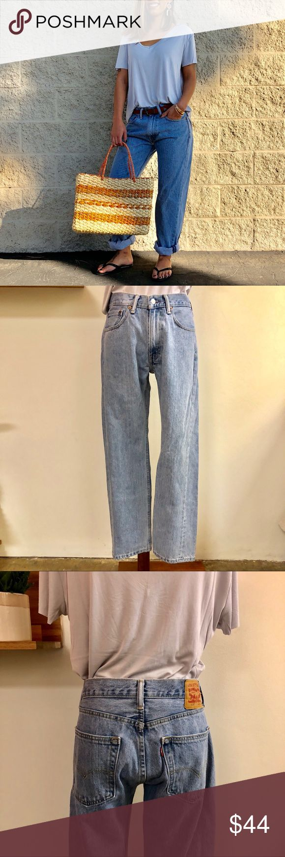 """Vintage Lt Washed Levi's 505 Jeans Vintage 90s light washed Levi 505 jeans. Size 32/30. Great boyfriend look. Excellent condition. Best fits sm/med.  *Model is 5'3"""" and wears a small. Levi's Jeans Boyfriend"""