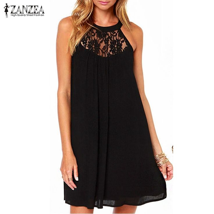 ZANZEA 2017 Summer Style Women Sexy Casual Sexy Lace Chiffon Dresses Sleeveless Loose Party Mini Solid Dress Vestidos Plus Size-in Dresses from Women's Clothing & Accessories on Aliexpress.com | Alibaba Group