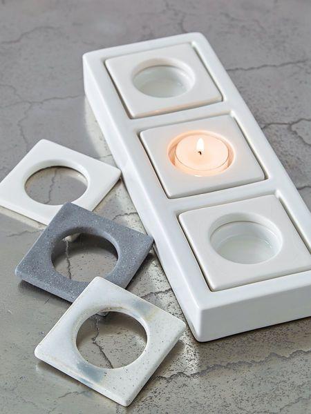 Triple+Ceramic+Tealight+Holder+-+White