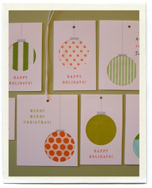 Christmas tag tutorial - made using circle punches & fabric (or paper) scraps