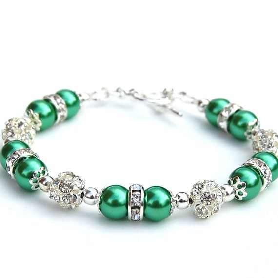 Kelly Green Pearl Rhinestone Bracelet, Green Wedding, Bridesmaid Jewelry
