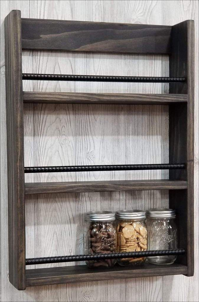Hot Sauce Display Mason Jar Shelf Spice Rack Mason Jar Shelf Mason Jar Crafts Diy Mason Jar Diy