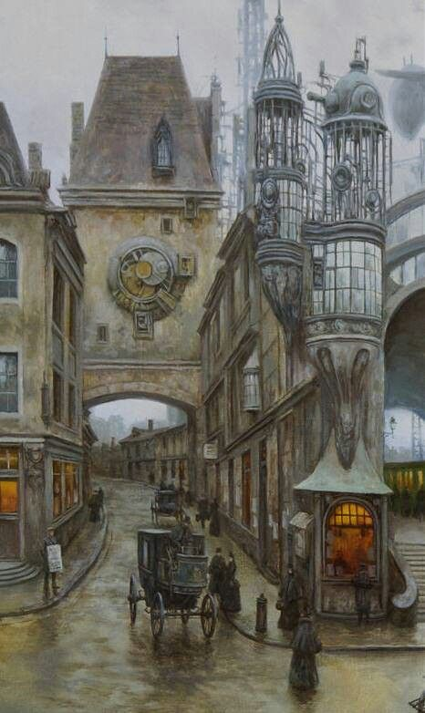 Le Gros Horloge de Rouen : http://papimarc.typepad.fr/declein/2010/11/dans-la-rue-du-gros-horloge-rouen-givr%C3%A9e-3.html - revisité par un artiste Steampunk