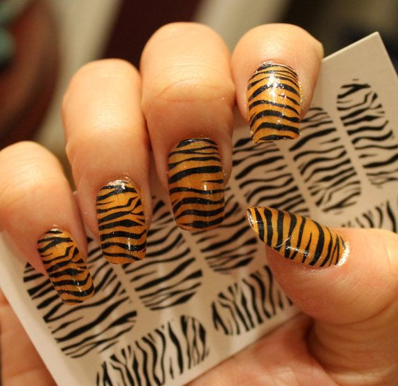 TIGER / ZEBRA STRIPE Nail Art Decals - Full Nail Decoration Long and Short Nails - Black Transparent Waterslide Stickers