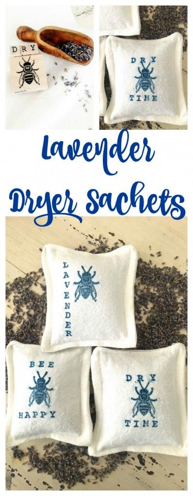 Lavender Dryer Sachets. DIY lavender sachets. Bee stamped craft. Drop cloth craft. Lavender craft.  – Smells so Good