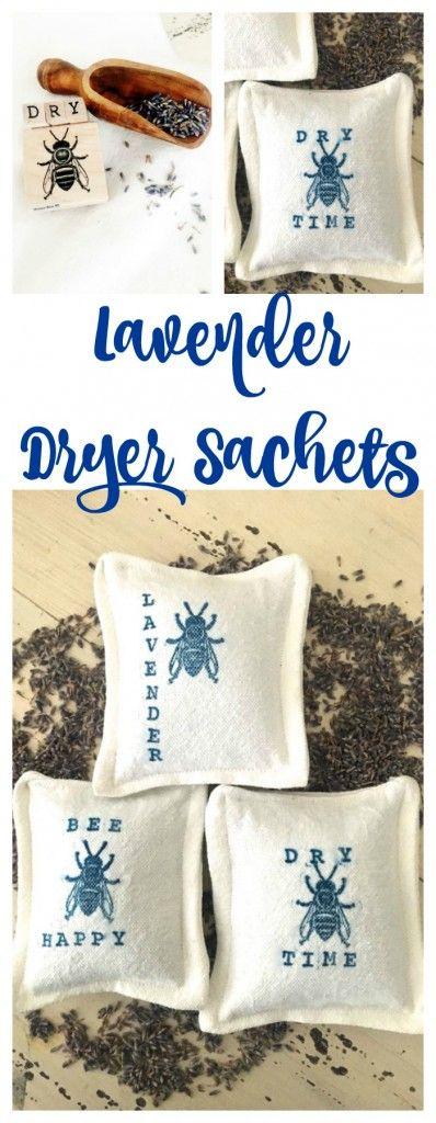Lavender Dryer Sachets. DIY lavender sachets. Bee stamped craft. Drop cloth craft. Lavender craft.  – Smells so Good