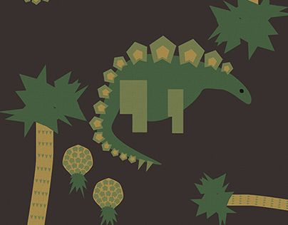 """Check out new work on my @Behance portfolio: """"Stegosaurus and Jurassic Pineapple Pattern"""" http://on.be.net/1NMu61t"""
