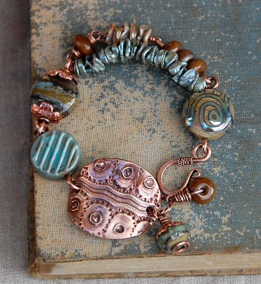 copper wire bracelet, also bloghop lots of links