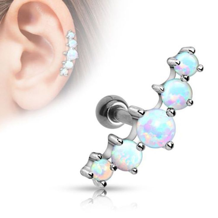 1PC Surgical Steel Opal Ball Tragus Cartilage Barbell Earring Ear Bar Stud Ring Body Piercing Jewelry