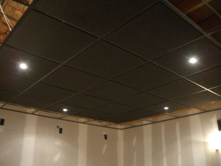 Painted Drop Ceiling Basement Office Pinterest Black