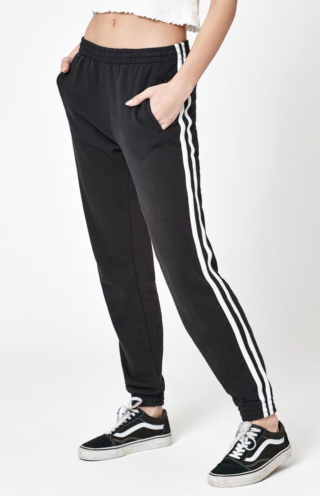 38cc44a5f New Womens John Galt Stripe Black White Jogger Sweatpants One Size Fits All  #PacSun #Relaxed