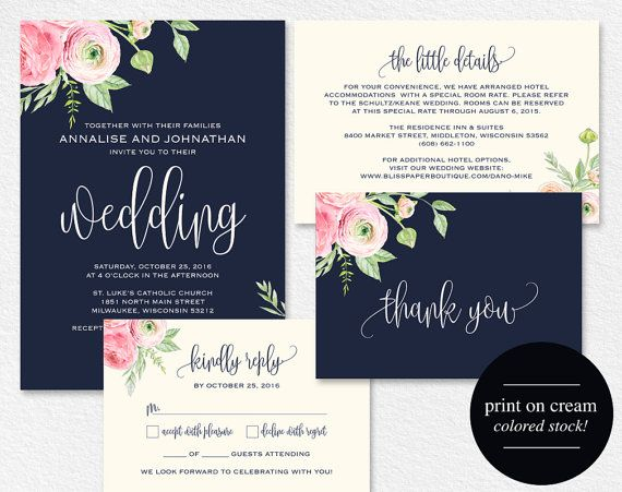 12 best wedding invitations images on pinterest wedding ideas floral wedding invitation navy blue floral by blisspaperboutique stopboris Choice Image