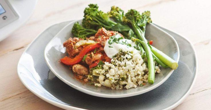 Paprika pork with cauliflower pilaf